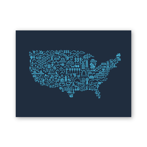 America Map (Discontinued) Screen Print