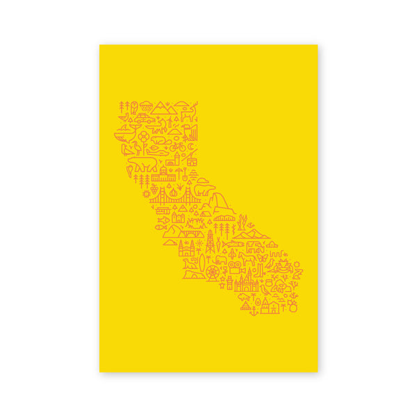Map of California Postcard