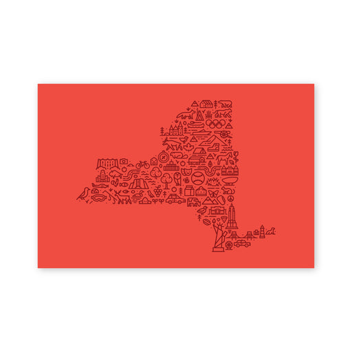 New York Map Postcard