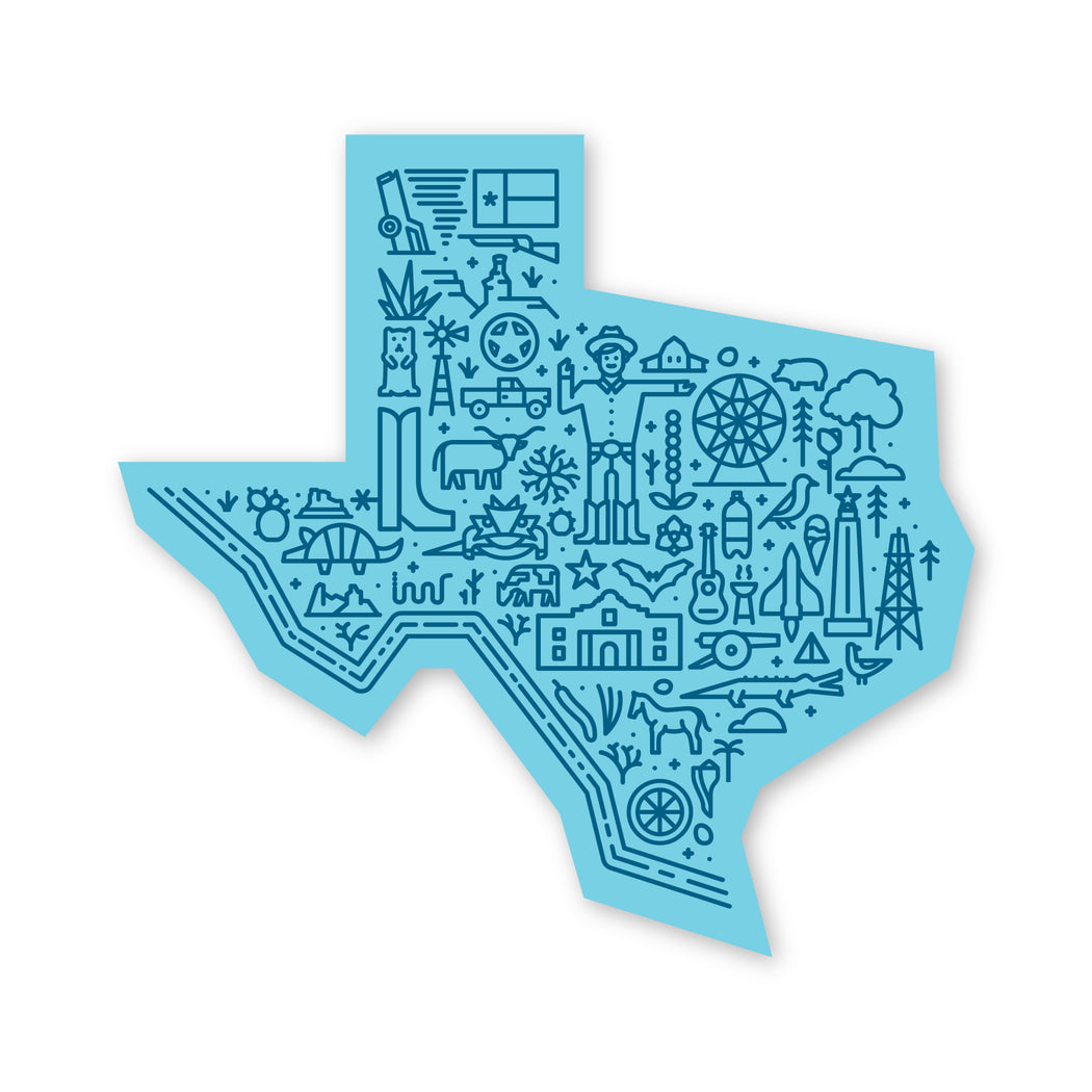 Texas Map Sticker