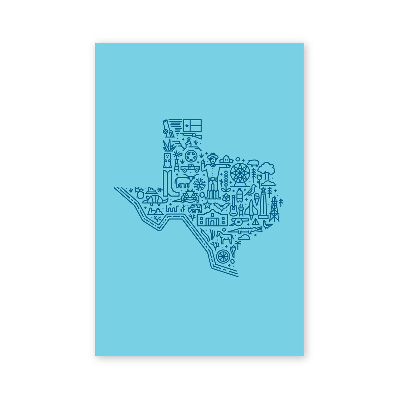 Map of Texas Postcard