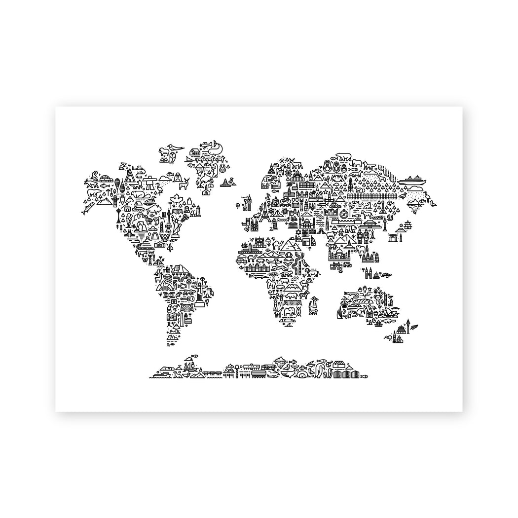World Map Screen Print