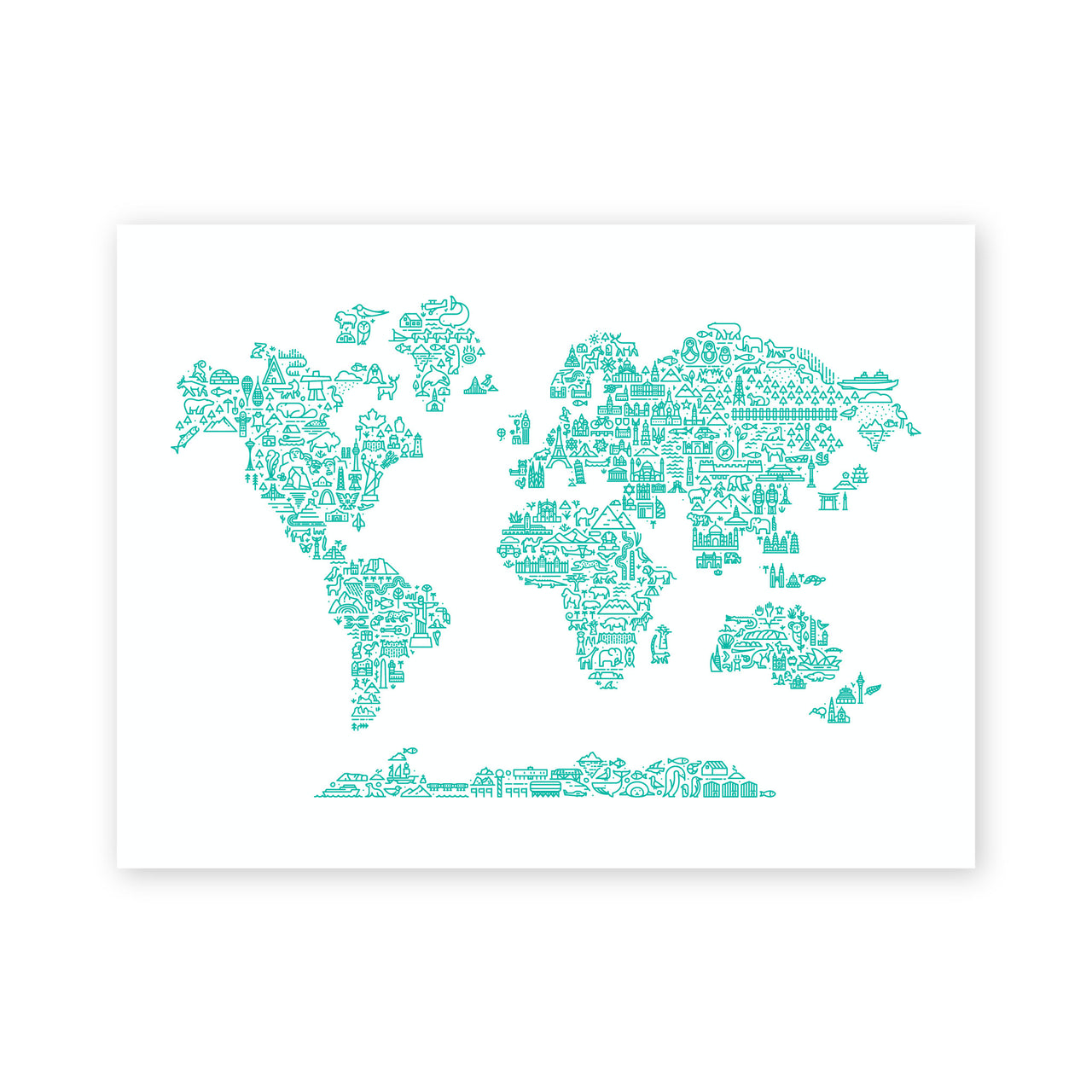 World Map (Teal)