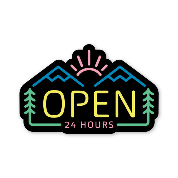 Open 24 hrs Sticker
