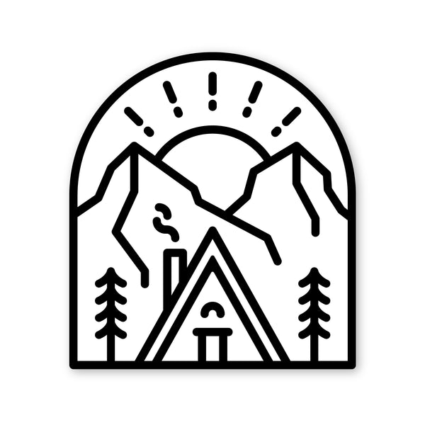 Snowy Cabin Sticker