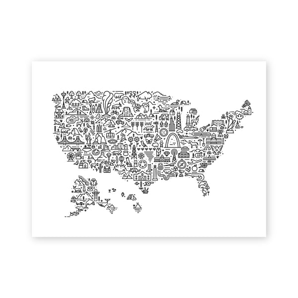 United States Map Screen Print