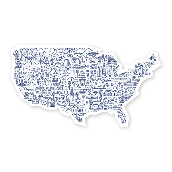 America Map Sticker