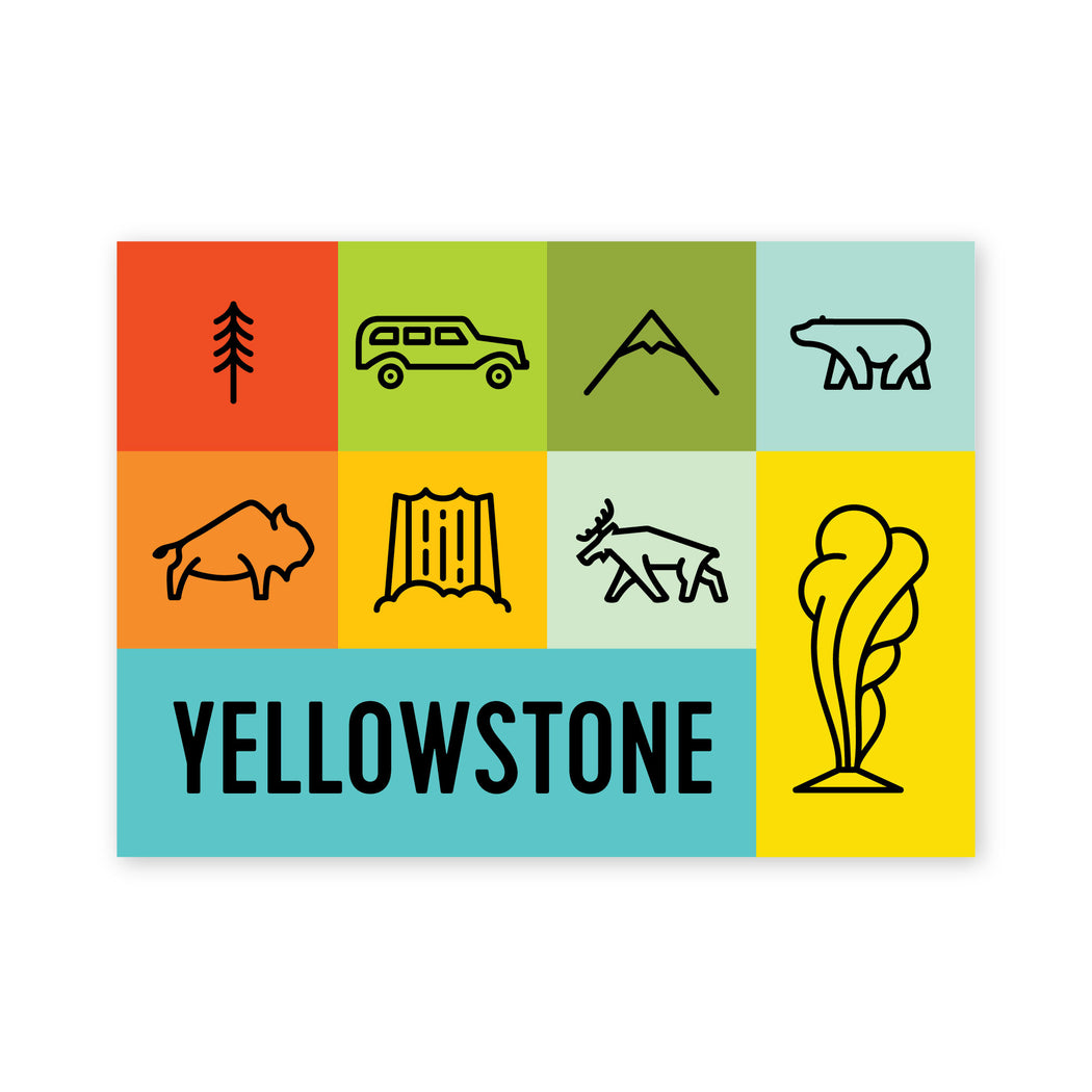 Yellowstone Squares Postcard