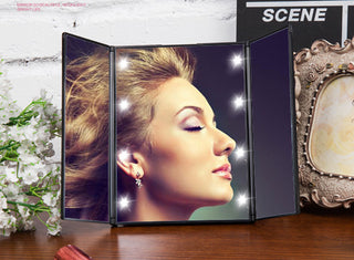 LED Lighted Folding , Portable Make Up Mirror