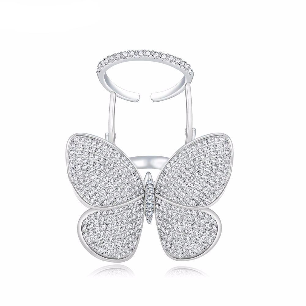 High Quality Butterfly Shape Ring With Micro Paved Shining Cubic Zircon