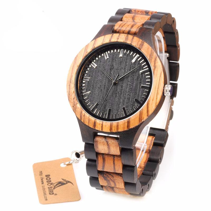 Zebra Wood Designer Men Watch