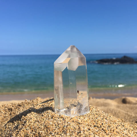 High Quality Clear Quartz Point with Chlorite Inclusion.