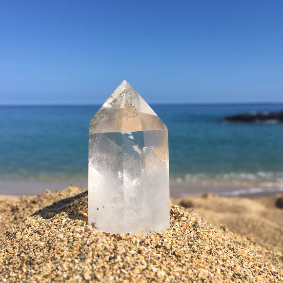 Rare Clear Quartz Point with Chloride Phantom