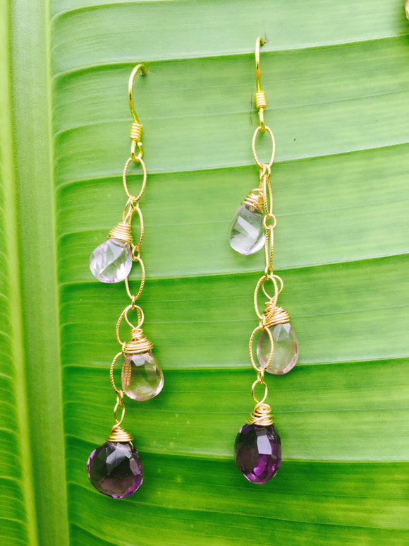 Faceted Precious Stones Dangling Eariings