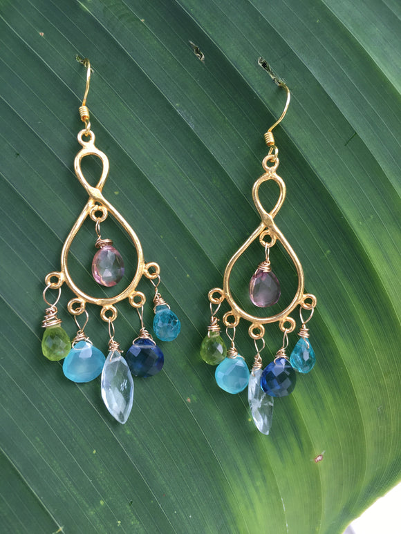 precious stones earrings with pink tourmaline,blue apatite,blue topaz,aquamarine,peridot