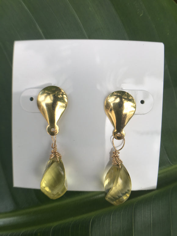 Faceted Citrine Briolette Earrings