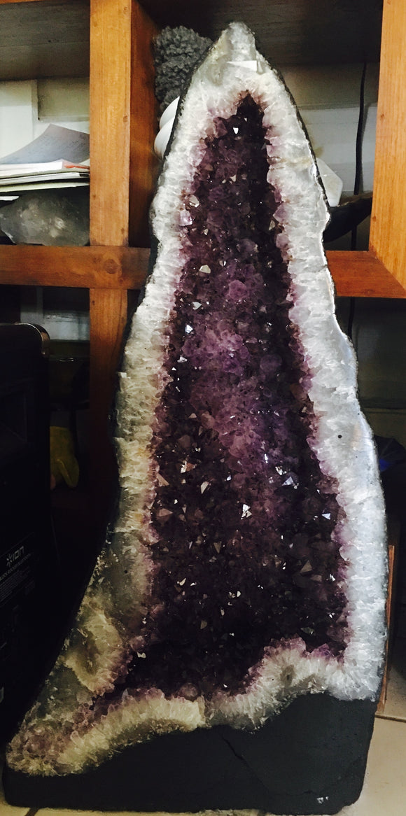 Amethyst geode with nice color and crystals