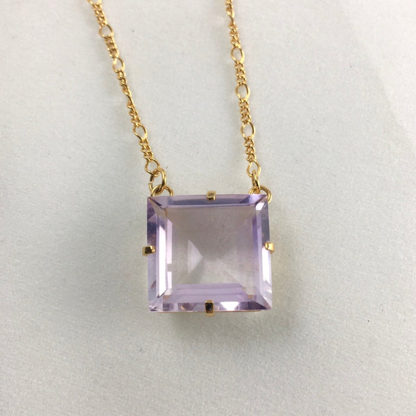 PRINCESS CUT  AMETHYST NECKLACE