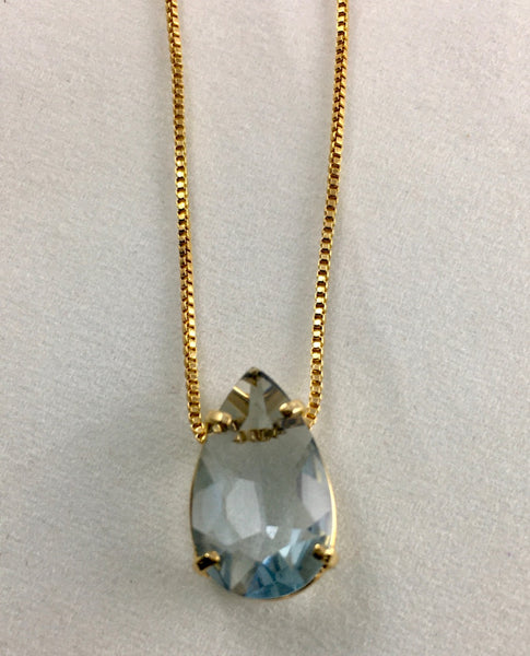 AQUAMARINE FACETED SOLITAIRE   NECKLACE