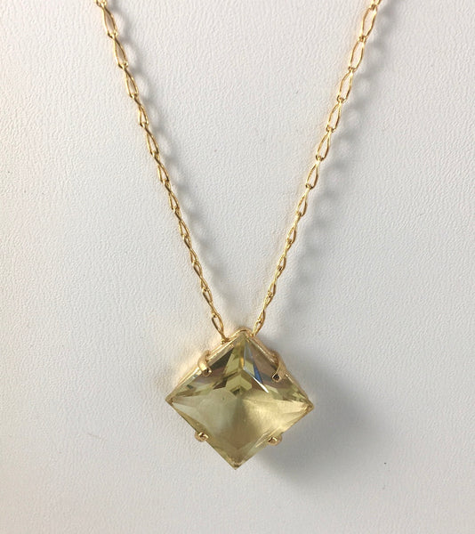 FACETED  SQUARE  FANCY CUT CITRINE  NECKLACE