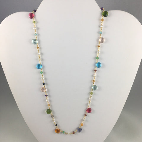 FACETED BRIOLETTE CUT  MIXED GEMSTONE NECKLACE IN 14KT GF