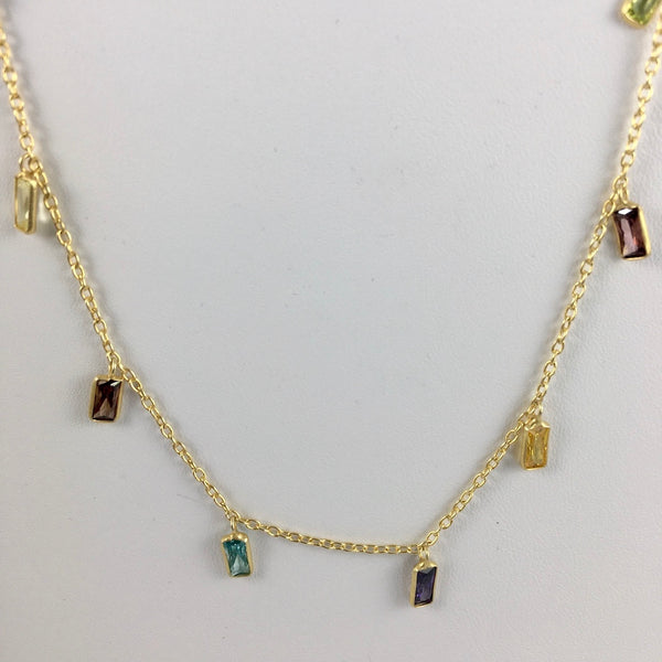 FACETED MIXED GEMSTONE NECKLACE IN 14KT GF