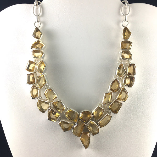 FANCY CITRINE STERLING SILVER  NECKLACE