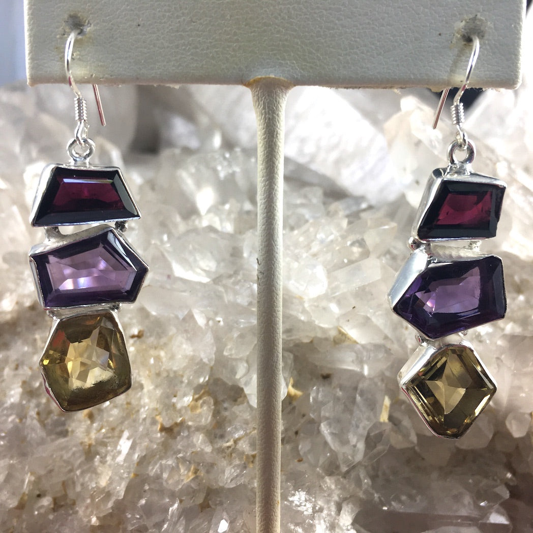 FACETED MIXED GEMS EARINGS
