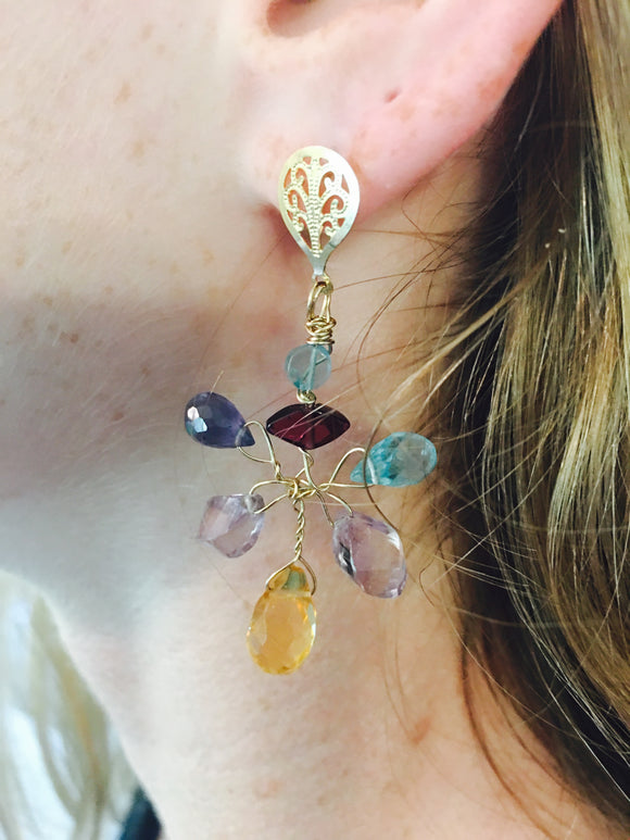 Gaia Earrings with Faceted  Citrine and other Gems