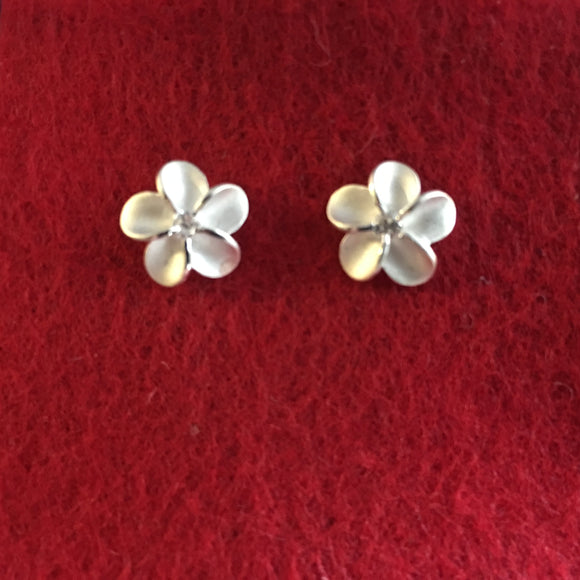 STERLING SILVER PLUMERIA STUDS EARRINGS