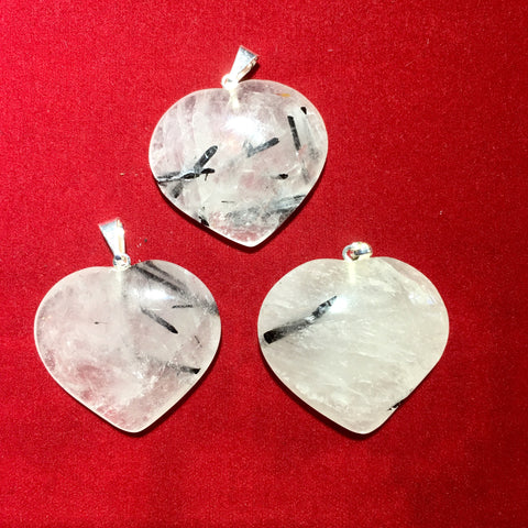 TOURMALINATED QUARTZ HEART PENDANT