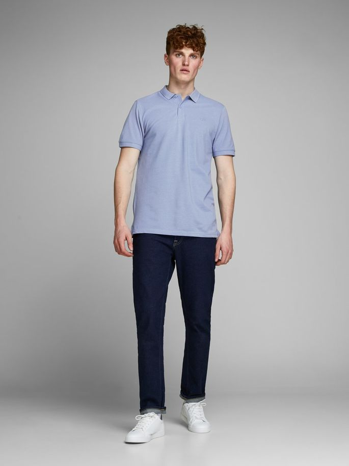 Classic Slim Fit Jack Jones Polo Shirt Light Blue