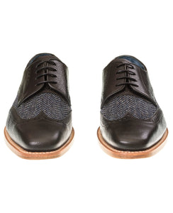 Barker - Black Grain/Blue Tweed