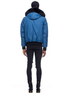 Moose Knuckles Ballistic Bomber Chambray Blue/Black Fur