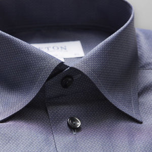Eton Grey Button-Under Poplin Shirt Slim