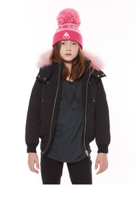 Moose knuckles Girls Bomber- Black w/ Pink Fur