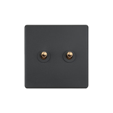 Elegant Grey 2 Gang Brass Toggle Switch