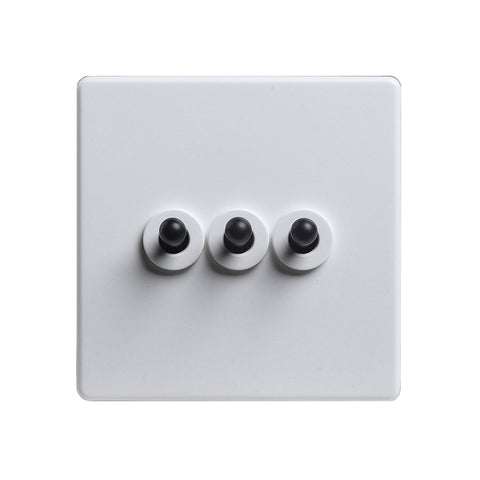 Modern White 3 Gang Black Toggle Switch