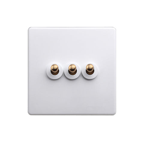 Classic White 3 Gang Brass Toggle Switch