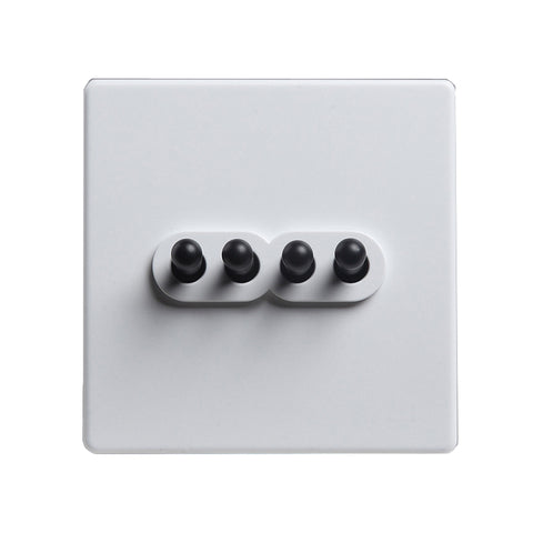 Modern White 4 Gang Black Toggle Switch