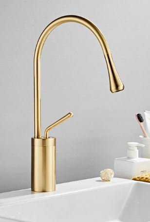Brushed Gold Modern Teardrop Mixer #201827