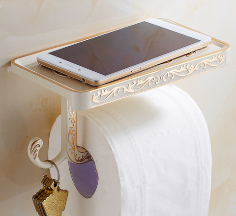 *LIMITED EDITION - Ivory & Gold Toilet Roll Holder #201816