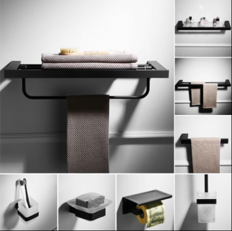Modern Matt Black Bathroom Accessories #1712