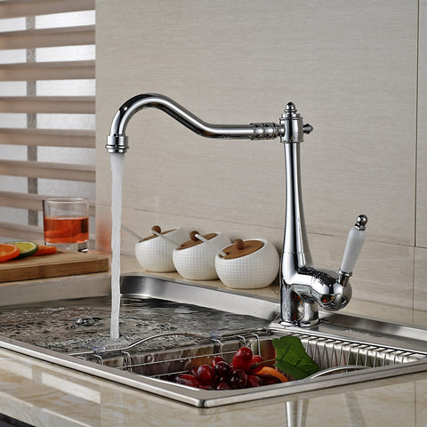 Silver Kitchen Sink mixer Deck Mounted #201726