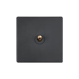 Elegant Grey 1 Gang Brass Toggle Switch