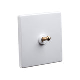 Classic White 1 Gang Brass Toggle Switch