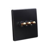 Classy Black 3 Gang Brass Toggle Switch