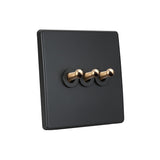 Elegant Grey 3 Gang Brass Toggle Switch