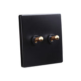 Classy Black 2 Gang Brass Toggle Switch