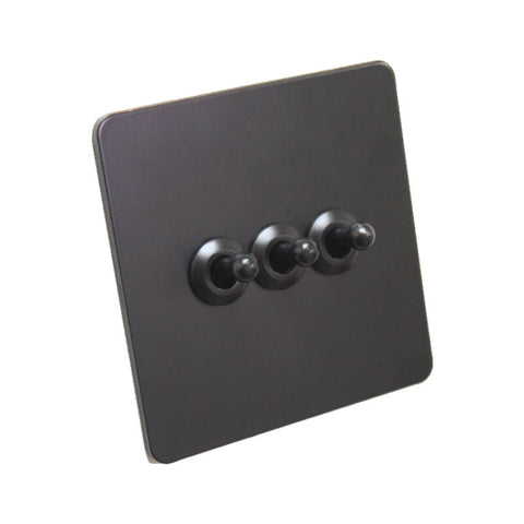 Antique Black 3 Gang Toggle Wall Switch